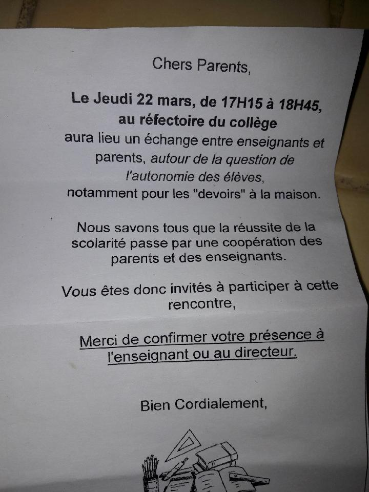 Invitation échange entre enseignants et parents