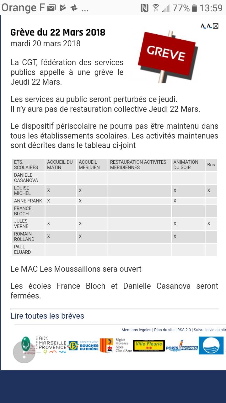Info grève jeudi 22 mars 2018