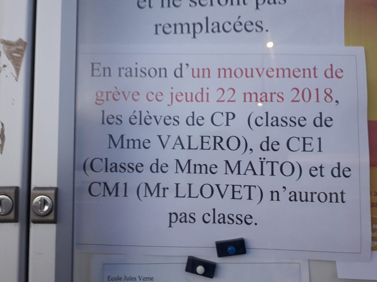 Info école jules Verne grève jeudi 22 mars 2018 .
