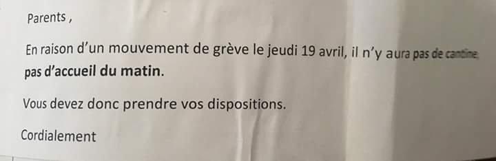 Info  grèves jeudi 19 avril 2018  école France bloch