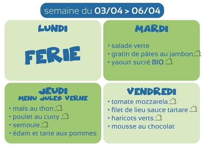 Menu cantine semaine du 03/04/18 au 06/04/18