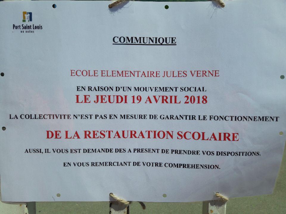 Info grève cantine école jules Verne