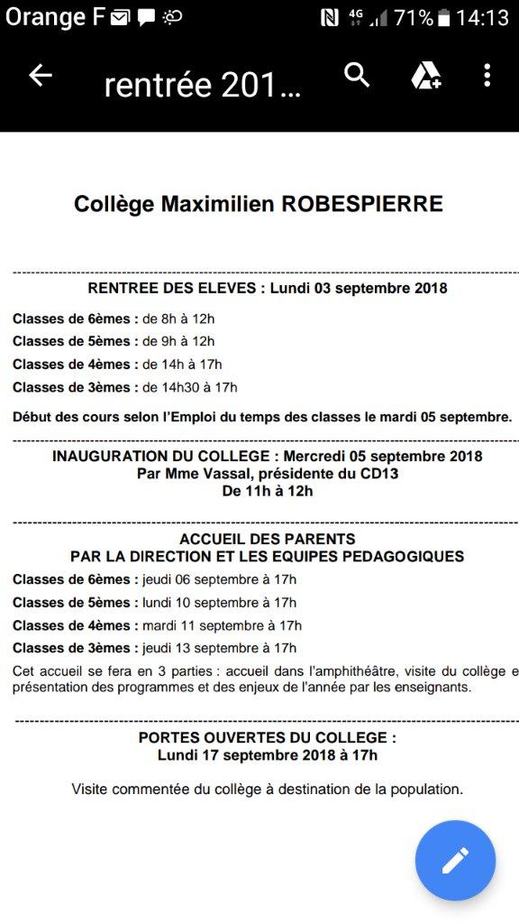 Info rentrée scolaire collège 2018/2019