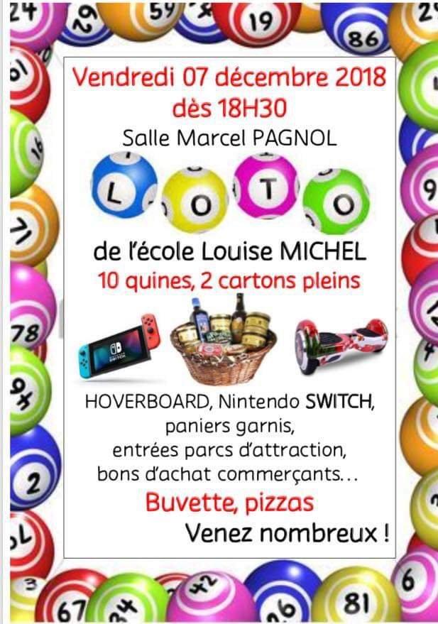 Loto école Louise Michel VENDREDI 7 DÉCEMBRE 2018