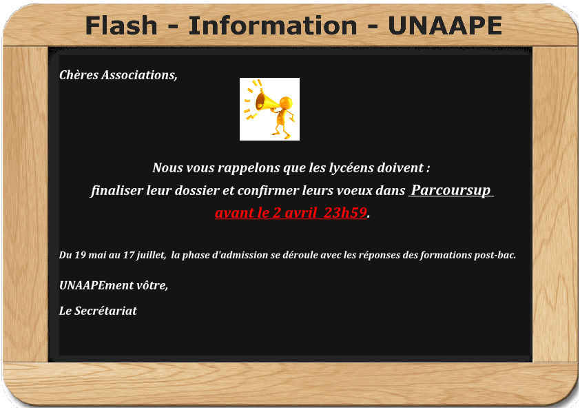 TR: [FLASH INFO] PARCOURSUP – Point d'étape au 2 avril 2020 au plus tard